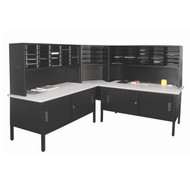 "Marvel 60 Adjustable Slot Literature Organizer with Cabinet Black 90""W x 30""D x 60-68""H - UTIL0030"
