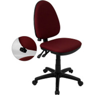 Flash Furniture Mid Back Burgundy Fabric Multi-Functional Task Chair with Adjustable Lumbar Support - WL-A654MG-BY-GG
