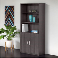 "Bush Business Furniture Studio C Bookcase 5-Shelf with Doors 36"" Storm Gray - STC015SG"