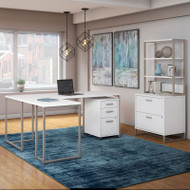 Kathy Ireland by Bush Method Collection 72W L-Shaped Desk with File Storage White - MTH027WHSU