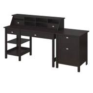 Bush Broadview Open Storage Desk, Organizer & 2-Drawer Pedestal - BD003EO