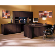 "Mayline Aberdeen Executive U-Shaped Desk 66"" w/Wood Door Hutch Package Mocha - AT41"