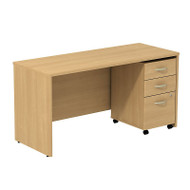 "Bush Business Furniture Series C Package Desk with Mobile File Cabinet in Light Oak 60""W x 24""D - SRC025LOSU"