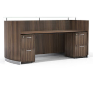 Mayline Medina Reception Station with Two File/File Pedestals Textured Brown Sugar Finish - MNRSBB-TBS