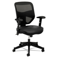 Basyx by HON HVL531 Black Leather/ Mesh High-Back Chair - BSXVL531SB11