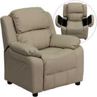 Flash Furniture Kid's Recliner with Storage Beige Vinyl - BT-7985-KID-BGE-GG