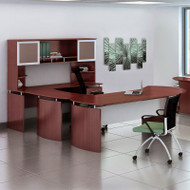 "Mayline Medina Laminate Executive 72"" Desk U-Shaped Package Right Mahogany - MNT31-LMH"