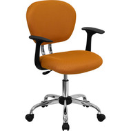 Flash Furniture Mid-Back Orange Mesh Task Chair with Arms and Chrome Base - H-2376-F-ORG-ARMS-GG