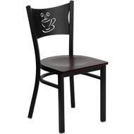 Flash Furniture Coffee Back Metal Restaurant Chair with Mahogany Wood Seat - XU-DG-60099-COF-MAHW-GG