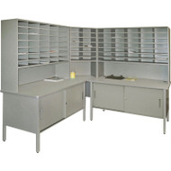 "Marvel 84 Slot Corner Literature Organizer with Cabinet Slate Gray 90""W x 90""D x 70-78""H - UTIL0015"