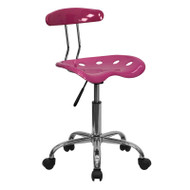 Flash Furniture Vibrant Pink and Chrome Computer Task Chair with Tractor Seat - LF-214-PINK-GG