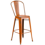 "Flash Furniture Distressed Orange Metal Indoor-Outdoor Bar Height Chair 30""H - ET-3534-30-OR-GG"