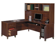 "Bush Somerset Collection L-Shaped Desk with Hutch Package 71"" Hansen Cherry - WC81710-11"
