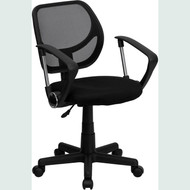 Flash Furniture Mid-Back Black Mesh Task Chair and Computer Chair with Arms - WA-3074-BK-A-GG