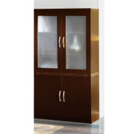 Mayline Aberdeen Storage Cabinet and Glass Display Cabinet Mocha - ASC-AGDC