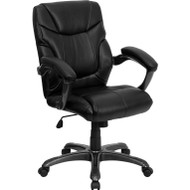 Flash Furniture Mid-Back Black Leather Overstuffed Office Chair - GO-724M-MID-BK-LEA-GG