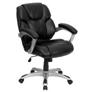Flash Furniture Mid-Back Black LeatherSoft Office Task Chair - GO-931H-MID-BK-GG