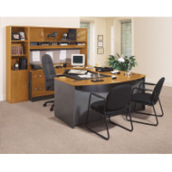 Bush Business Furniture Series C Package Executive U-Shaped Bowfront Desk Natural Cherry - NCPackageC
