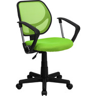 Flash Furniture Mid-Back Green Mesh Task Chair and Computer Chair with Arms - WA-3074-GN-A-GG