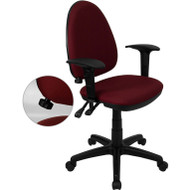 Flash Furniture Mid Back Burgundy Fabric Multi-Functional Task Chair with Arms and Adjustable Lumbar Support - WL-A654MG-BY-GG