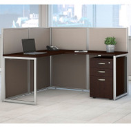 "Bush Furniture Easy Office L-Shaped Desk 60"" with Mobile File Cabinet - EOD360SMR-03K"
