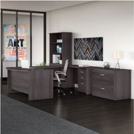 "Bush Business Furniture Studio C Bow Front U-Shaped Desk with Storage Package 60"" Storm Gray - STC002SG"
