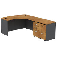 Bush Business Furniture Series C Package L-Shaped Bowfront Desk Right with 2 Mobile Pedestals Natural Cherry - SRC034NCRSU