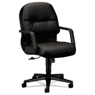 HON 2090 Series Pillow-Soft Managerial Leather Mid-Back Swivel Tilt Chair Black - 2092SR11T