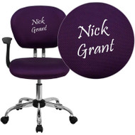 Flash Furniture Embroidered Mid-Back Purple Mesh Task Chair with Arms - H-2376-F-PUR-ARMS-EMB-GG