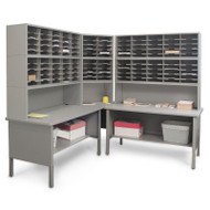"Marvel 120 Adjustable Slot Corner Literature Organizer Slate Gray 90""W x 90""D x 70-78""H - UTIL0013"