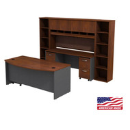 "Bush Business Furniture Series C Executive Bowfront Desk 72"" with Credenza, Hutch and Bookcases Hansen Cherry - SRC0010HCSU"