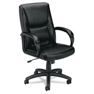 Basyx Black Executive Mid-Back Leather Chair - VL161SB11