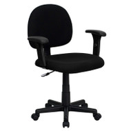 Flash Furniture Mid Back Ergonomic Black Fabric Task Chair with Adjustable Arms - BT-660-1-BK-GG