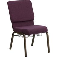 Flash Furniture Hercules Series 18.5 Plum Fabric Chair with Book Basket - FD-CH02185-GV-005-BAS-GG