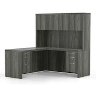 Mayline Aberdeen Executive L-Shaped Desk Work Station Gray Steel - AT32-LGS