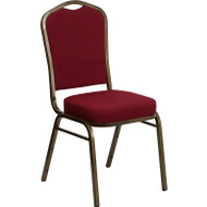 Flash Furniture Hercules Series Crown Back Stacking Banquet Chair with Burgundy Fabric - FD-C01-GOLDVEIN-3169-GG