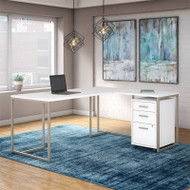 Kathy Ireland by Bush Method Collection 72W L-Shaped Desk with Mobile Pedestal White - MTH018WHSU