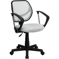 Flash Furniture Mid-Back White Mesh Task Chair and Computer Chair with Arms - WA-3074-WHT-A-GG