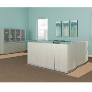 Mayline Medina Laminate Reception Desk with Return and Two Box/Box/File Pedestal Drawers Textured Sea Salt - MNRSLBB-TSS