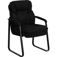 Flash Furniture Black Microfiber Executive Side Chair with Sled Base - GO-1156-BK-GG