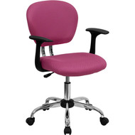 Flash Furniture Mid-Back Pink Mesh Task Chair with Arms and Chrome Base - H-2376-F-PINK-ARMS-GG