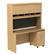 "Bush Business Furniture Series C Package Desk with Hutch and Mobile File Cabinet in Light Oak 60""W x 24""D - SRC014LOSU"