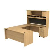 Bush Business Furniture Series C Package U-Shaped Desk with Hutch and 3-Drawer Pedestal Light Oak - SRC004LOSU