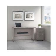 "Bush Business Furniture Series A Desk with Mobile File Cabinet in Pewter 48""W - SRA025PESU"