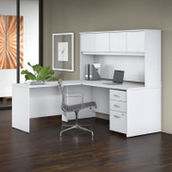 "Bush Business Furniture Studio C Desk L-Shaped with Hutch Package 72"" White - STC006WH"