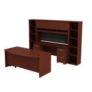 Bush Business Furniture Series C Package Executive Bowfront Desk with Credenza, Hutch and Bookcases Mahogany - SRC0010MASU