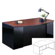 "Mayline CSII Bow Front Desk with File/File Pedestal 66"" - C1963"