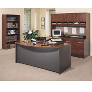 Bush Business Furniture Series C Package Executive U-Shaped Bowfront Desk Hansen Cherry Right - HCPackageB2
