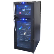 NewAir 21 Bottle Dual Zone Thermoelectric Wine Cooler, Black - AW-210ED