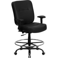 Flash Furniture Hercules Series Big and Tall Black Leather Drafting Stool with Arms - WL-735SYG-BK-LEA-AD-GG